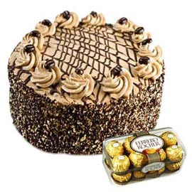 Gift online ferrero Rocher chocolates n coffee cake in kanpur