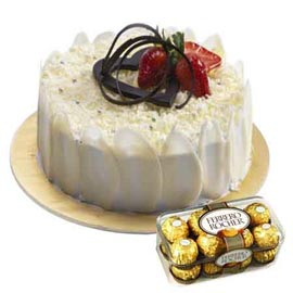 Same day online Rocher chocolates n white forest cake in kanpur