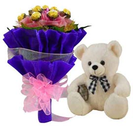 Buy online rocher chocolate bouquet n 1 feet teddy in kanpur