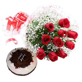 buy online black forest cake n 10 red roses bunch in kanpur