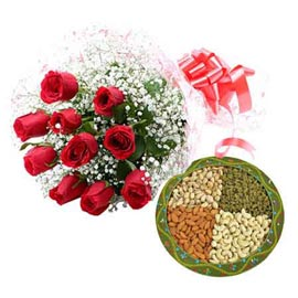 xpress online red roses n mix dry fruit pack combo delivery in kanpur