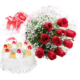 24 Hrs online 1 kg pineapple cake n 10 red roses in kanpur