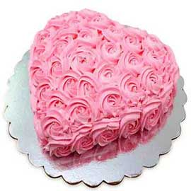 rosey vanilla heart midnight cake delivery in Kanpur