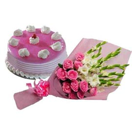 Gift online half kg strawberry cake n mix flowers bunch in kanpur