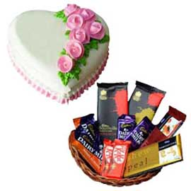 Gift online Rosy heart cake n assorted chocolates hamper in kanpur