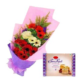 Buy online soan papdi n mix gerberas paper bunch in kanpur