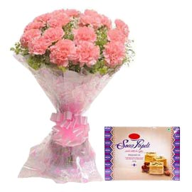 midnight online soan papdi n pink carnations bunch in kanpur