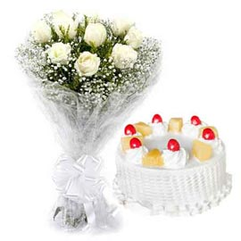 Send online pineapple cake n white roses bunch in kanpur