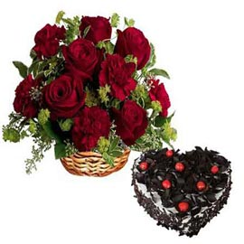 Send online black forest cake n mix red flowers basket in kanpur