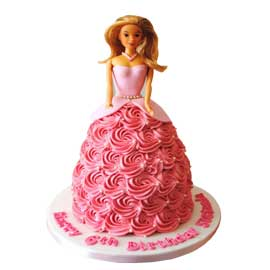 Send online 2 kg special barbie cake delivery in kanpur