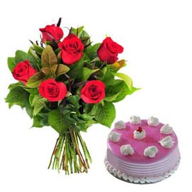 Gift online strawberry cake n 6 red roses bunch in kanpur