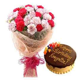 Buy online chocolate cake n mix carnations bunch in kanpur
