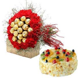 Send carnations Chocolates n fresh fruit cake in kanpur