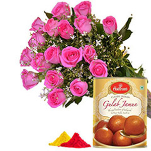 same day online rasgulla pack n pink roses bunch in kanpur