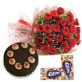 Midnight online cadbury gems, red roses n chocolate cake in kanpur