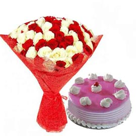 24 Hrs online strawberry cake n mix roses jute bunch in kanpur