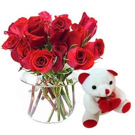 Same day online cute teddy n red roses in vase delivery in kanpur