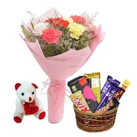 Buy online assorted chocolates, cute teddy n carnations paper bunch in kanpur