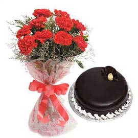 Buy online chocolate cake n red carnations bunch in kanpur