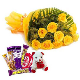 Xpress online yellow roses, teddy n mix chocolates delivery in kanpur