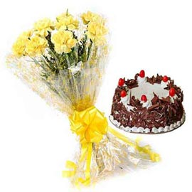 Combo Send Online Black Forest Cake N Yellow Carnations Bunch In Kanpur