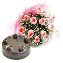 Buy online chocolate cake n 10 pink roses bunch in kanpur