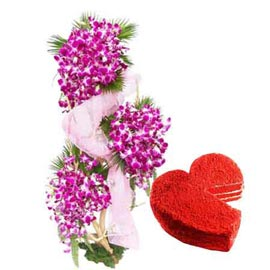 Send same day 1 kg red velvet cake n orchids basket in kanpur