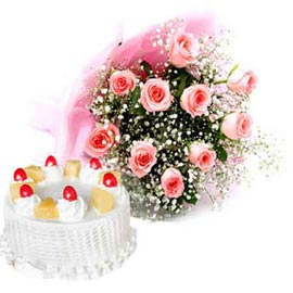 24 hrs online pineapple cake n 10 pink roses bunch in kanpur