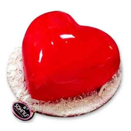 24 hrs delivery of valentine glossy heart vanilla cake in kanpur