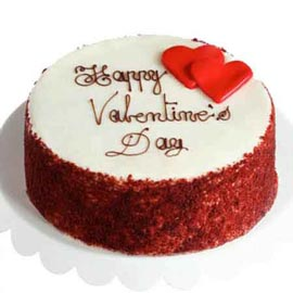 Send online Half kg valentine red velvet cake delivery in kanpur