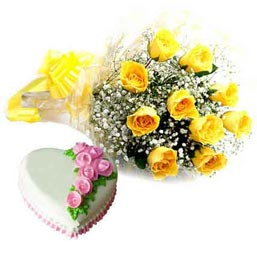 urgent online Vanilla heart cake n yellow roses delivery in kanpur