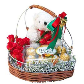 Urgent online red roses handle basket, teddy n rocher chocolates in kanpur