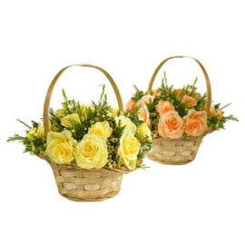 buy 24 mix roses cane basket same day delivery in kanpur