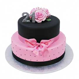 Send online black n pink party vanilla Cake delivery in kanpur