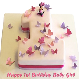 2 kg butterfly 1st bday cake midnight delivery in kanpur @ best cake shop