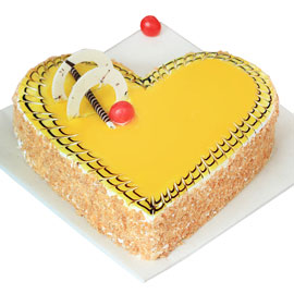 buy online half kg Butterscotch heart cake delivery in kanpur