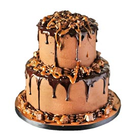 Send online choco caramel chocolate party cake delivery in kanpur