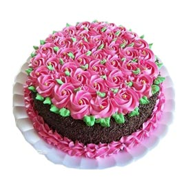 Send Online Chocolate Floral Cake Delivery In Kanpur