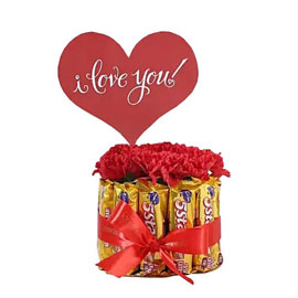send chocolate n carnations bouquet morning delivery in kanpur