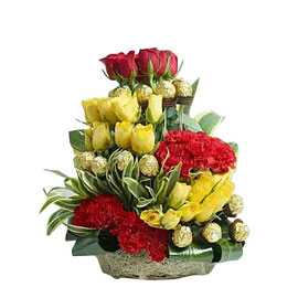 buy basket of chocolate n flower arrangment midnight delivery in kanpur