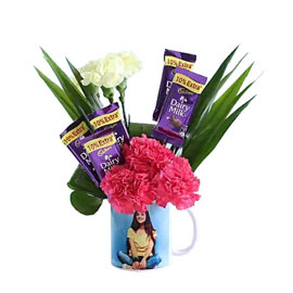 buy chocolates carnations in personalised mug arrangment 24 hrs delivery in Kanpur