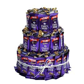 24 hrs online dairy milk and chocolair toffee 3 tier arrangement delivery in kanpur