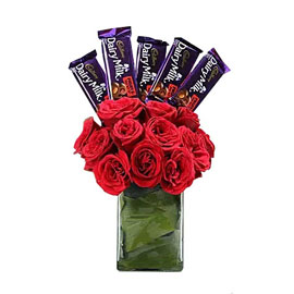 buy classic choco roses vase arrangement 24 hrs delivery in Kanpur
