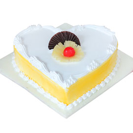 buy online half kg Classic Pineapple heart cake delivery in kanpur