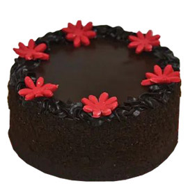 24 hrs delivery of half kg floral choco cake delivery in kanpur