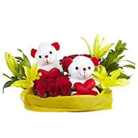 Buy online red roses, yellow lilly n teddy in basket delivery kanpur