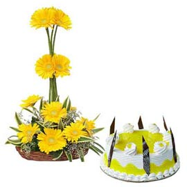 24 hrs online pineapple cake n yellow flowers basket in kanpur