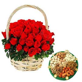 24 hrs online red roses basket n assorted dry fruit thali in kanpur