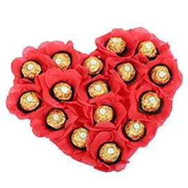 24 hrs online 16 pcs ferrero rocher heart shape basket delivery in kanpur