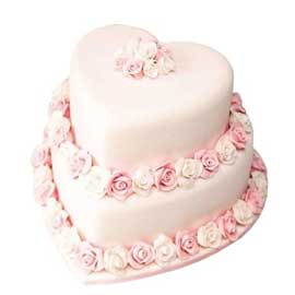 Send online heart tier cake delivery in kanpur